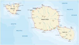 map of Tahiti and Moorea with cities and roads