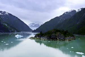 Approaching the Sawyer Glacier in Tracy Arm Fjord Alaska