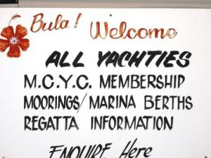 Fiji Musket Cove Yacht Club Welcome Sign www.njcharters.com