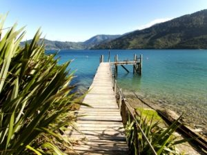 New Zealand, Marlborough Sound, private yacht