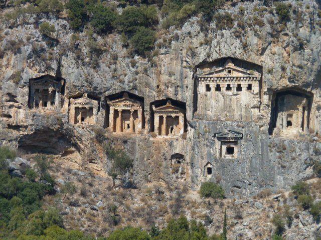 Dalyan River, Turkey Lycian Temple Front Cliffside Tombs www.njcharters.com