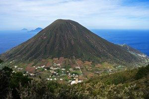 Background of Italian Aeolian Islands mountain volcano in