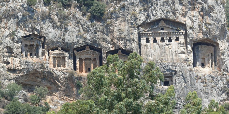 See the Ancient Lycian Cliffside Tombs on the  Dalyan River in Turkey www.njcharters.com