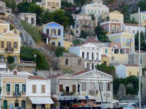 Greece Symi Harbor Buildings in the hills www.njcharters.com