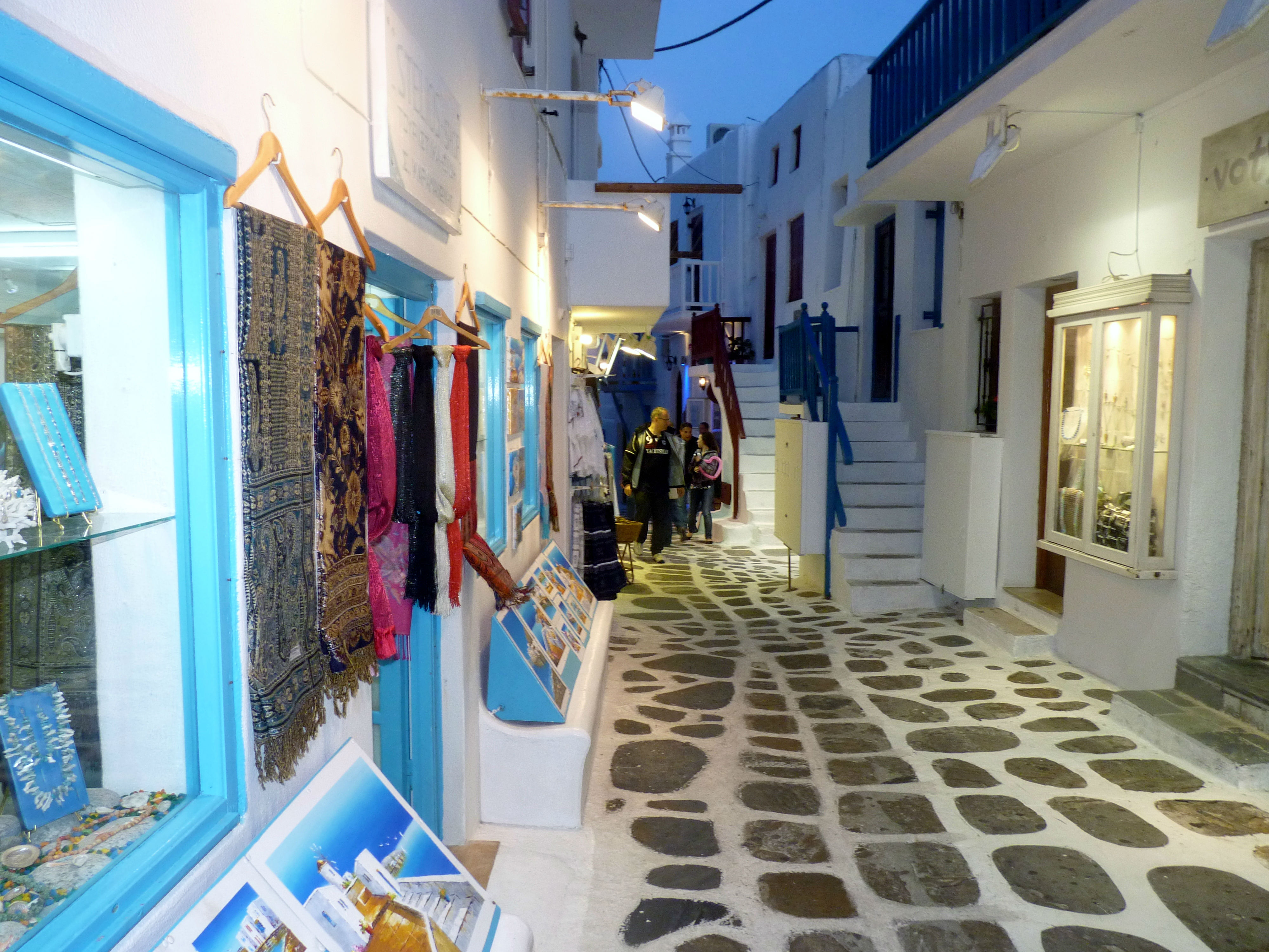 Mykonos Shopping Streets at Night www.njcharters.com