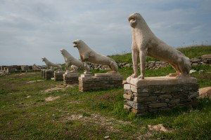 Lion statues at the archaeological island of Delos Cyclades Greece