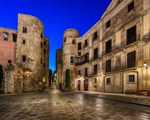 Ancient Roman Gate and Placa Nova in the Morning Barcelona Catalonia Spain