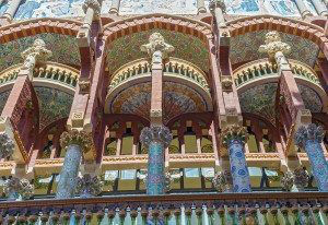 Palace of Catalan Music is a concert hall in Barcelona Spain. Designed in the Catalan modernista style by the architect Lluis Domenech i Montaner it was built between 1905 and 1908.