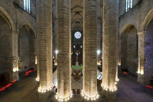 BARCELONA, SPAIN - JUNE 10, 2014: Interior of the Basilica of Santa Maria del Mar (1329-1383) in Catalan Gothic style in Barcelona, Catalonia, Spain