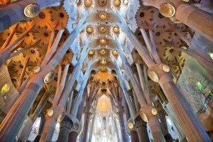 BARCELONA, SPAIN - : Ceiling of the Sagrada Familia, Barcelona, Spain with columns designed by Antoni Gaudi as branching trees. May 02, 2015 in Barcelona Spain