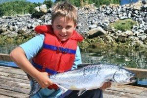 Salmon And Boy www.njcharters.com