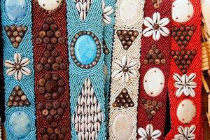 colorful handcrafted belts with sea shells in Balearic islands