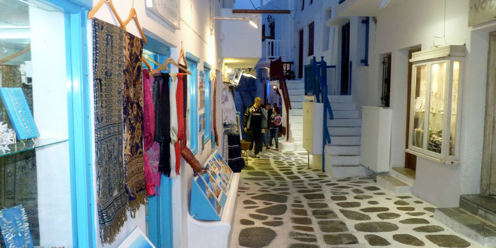 Shopping Street at Night , Mykonos Island, Greece www.njcharters.com
