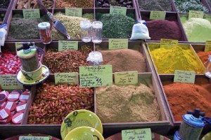 Spices for Sale at Antibes Market, France www.njcharters.com