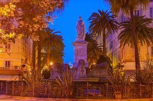 The monument to Napoleon Bonaparte in Foch Square Ajaccio Corsica France.
