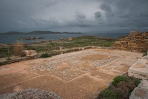 Ancient Greek ruins at the archaeological island of Delos Cyclades Greece