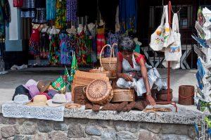 Roseau Dominica - December 4 2011: A souvenirs vendor along the main harbor street in Roseau Dominica.