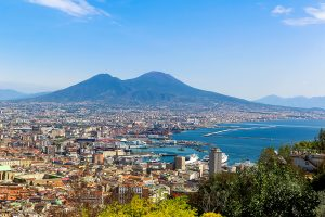 Napoli (Naples) and mount Vesuvius in the background at sunset in a summer day Italy Campania