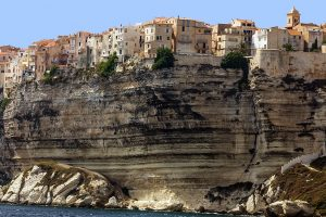 Bonifacio ancient city on limestone cliff, Corsica island, France
