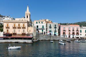 LIPARI ITALY Harbor of Lipari at the Aeolian islan