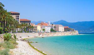 Ajaccio cityscape Corsica island France. Beach