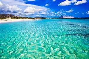 Clear sea and sandy beach La Cinta Sardinia Italy