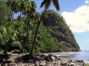 A black sand beach, Martinique