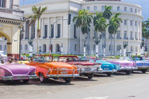 Old classic American cars on one of Havana's streets on July 18 2016. There is nearly 60000 vintage American cars in Cuba