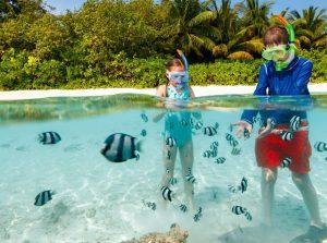 Caribbean, Children snorkeling on luxury yacht charter www.njcharters.com