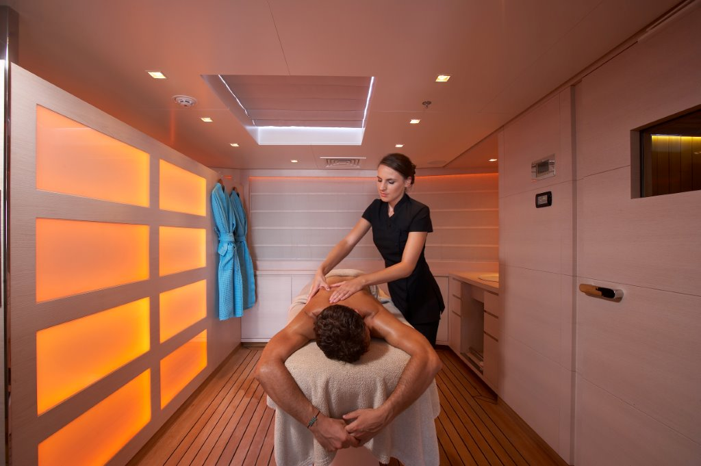 Onboard amenities include options like a therapeutic massage