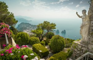 Panorama of Capri Island from Mount Solaro Italy