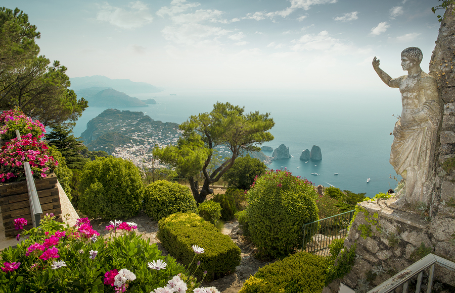 Panorama of Capri Island from Mount Solaro Italy