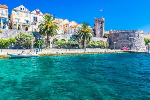 Croatia Korcula Old Town walls and quay www.njcharters.com