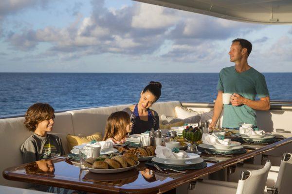 Marcato, 140' expedition luxury charter yacht in Highborne Cay, the Exumas, Bahamas