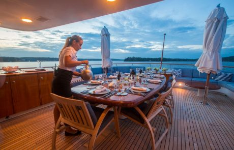 World class service provided by our professional crew and personal chef will create an atmosphere, onboard experience, and menu for your family reunion, wedding, honeymoon and more with our fabulous accommodations