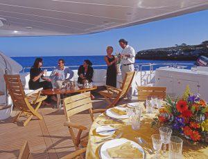 Luxury Yacht Charter, Al fresco dining, Yacht Charter Lifestyle www.njcharters.com