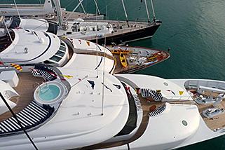 Mega Yacht Bows St. Martin www.njcharters.com