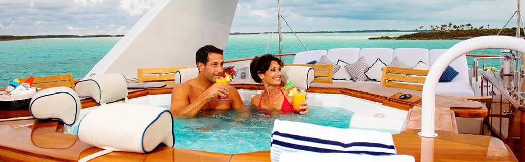 Luxury yacht charter Top Sun Deck Jacuzzi Fun