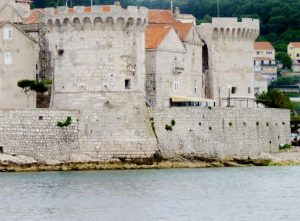 Korcula Croatia Old Town walls from sea