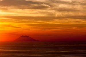 A view of Stromboli Volcano from mainland Italy