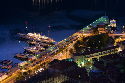 Kotor Port at Night Croatia njcharters.com