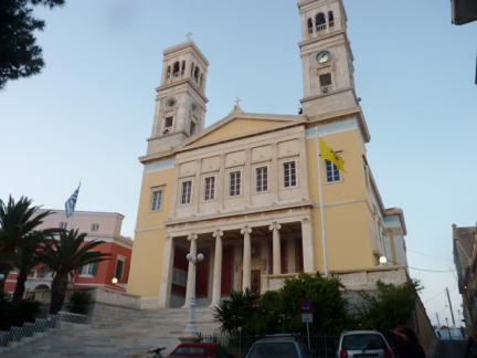 Syros Island Harbor Area Church njcharters.com