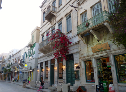Syros Island Harbor Shopping Street njcharters.com