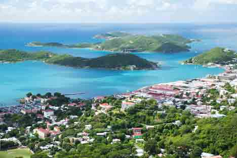 Aerial View of Charlotte Amalie, St. Thomas, USVI njcharters.com