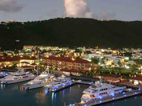 St. Thomas Yacht Quay at Night njcharters.com