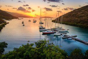Beautiful sunset scene on the island of Virgin Gorda in BVI