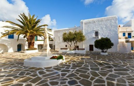 Plaza in Chora on Sikinos Island Greece Cycladic Islands www.njcharters.com