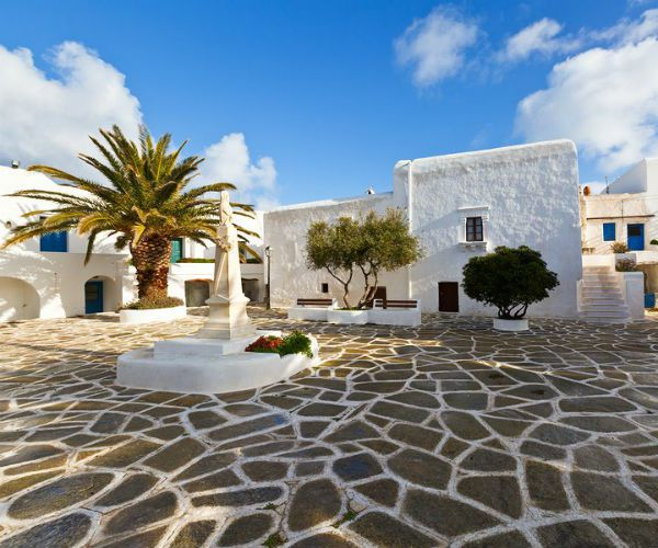 Plaza in Chora on Sikinos Island Greece Cycladic Islands www.njcharters.com