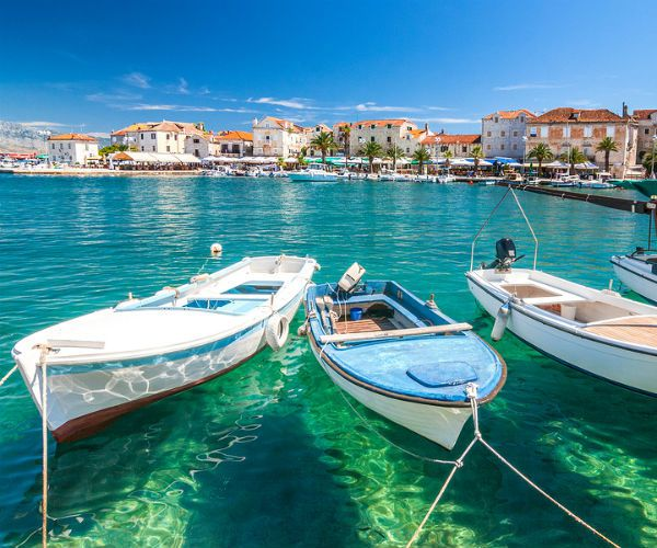 Boats in Brac Harbor Croatia njcharters.com
