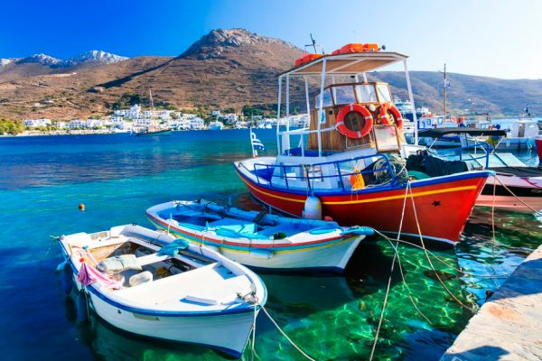 Traditional Fishing Boats Amorgos Island Greece njcharters.com